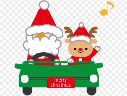 サンタさんとトナカイがプレゼントを渡す画像